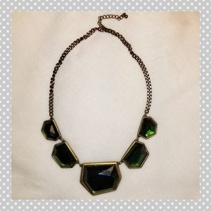 Emerald and Antique Gold Statement Necklace